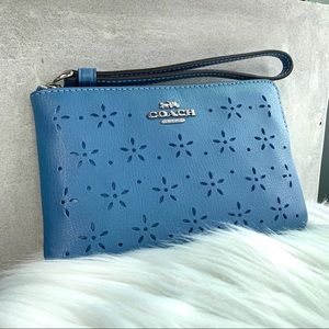 Coach Perforated Midnight Blue Leather Wristlet
